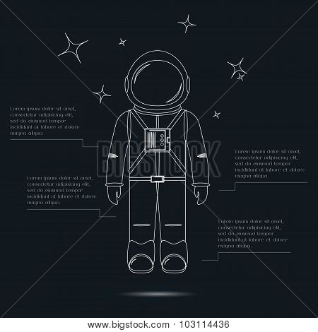 Line art design astronaut and stars.