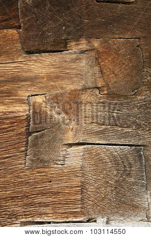 Wooden Beams On Old Wall