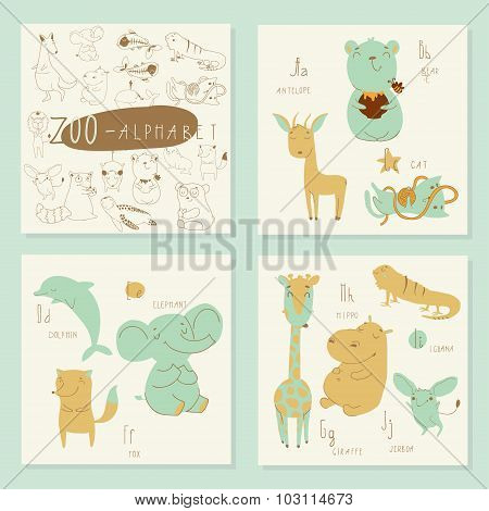 Cute zoo alphabet in vector