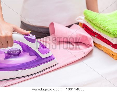 Ironing On The Table At Home