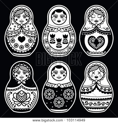 Matryoshka, Russian doll white icons set on black