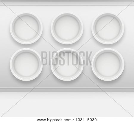 Round Niche in the wall for presentation of goods. 3d render