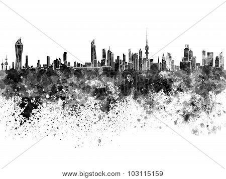 Kuwait City Skyline In Black Watercolor