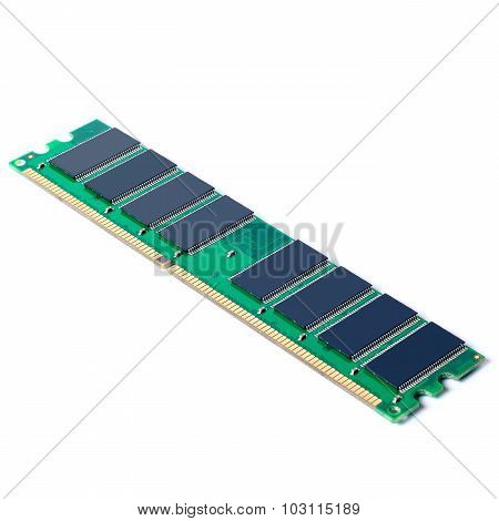 Part Of Pc Memory Module. Isolated On White Background.
