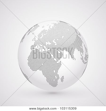 Abstract dotted globe, Central heating view on Europe and Africa