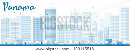 Outline Panama City skyline with blue skyscrapers. Vector Illustration