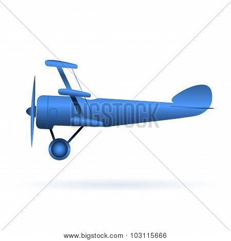 Vector blue toy airplane over white
