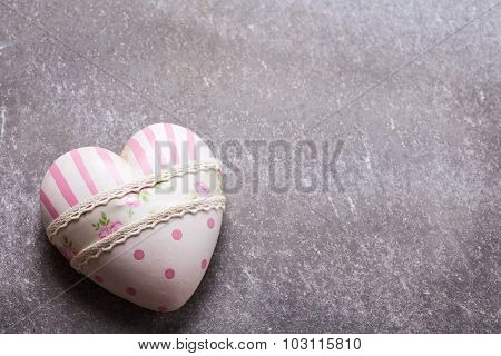 Decorative Pink Heart On Grey  Background.