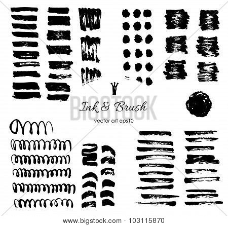 Grungy Vector Brush Strokes, Shapes Set.