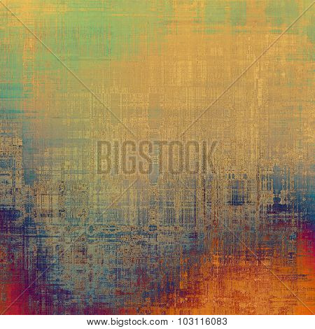 Computer designed highly detailed vintage texture or background. With different color patterns: yellow (beige); green; red (orange); blue