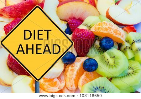 Yellow Roadsign With Message Diet Ahead