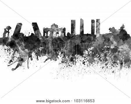 Madrid Skyline In Black Watercolor