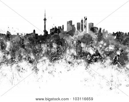 Shanghai Skyline In Black Watercolor