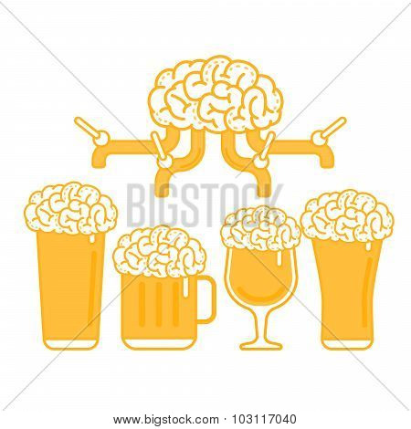 Brain Beer Tap and Various Types of Glass