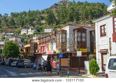 Corner Of Market (carsi) And 47 Streets In Fethiye, Turkey.
