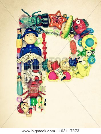 the letter P made from small toys