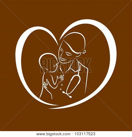 The nurse with the child, the therapist treats the patient, the woman the doctor,