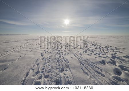 Winter landscape with a very beautiful sky