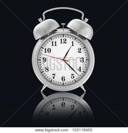 Chrome Alarm-Clock on black background with reflection