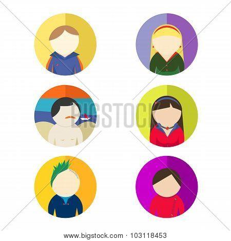 Set of character avatars