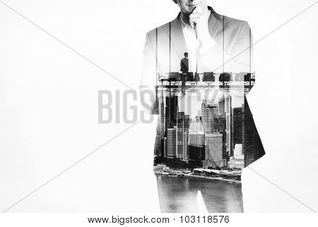 Double exposure concept with young business man