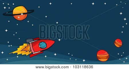 Space Rockets With Planets And Stars