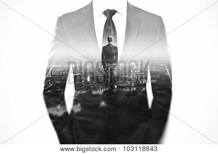 Double exposure concept with business man in modern suit