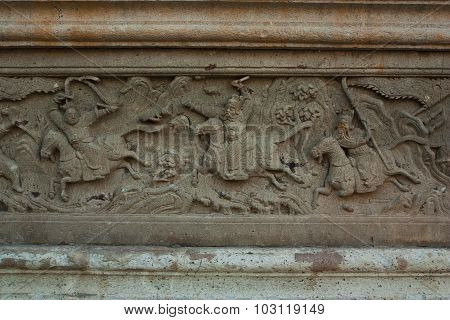 Rock Carvings On Temple Wall Thailand.