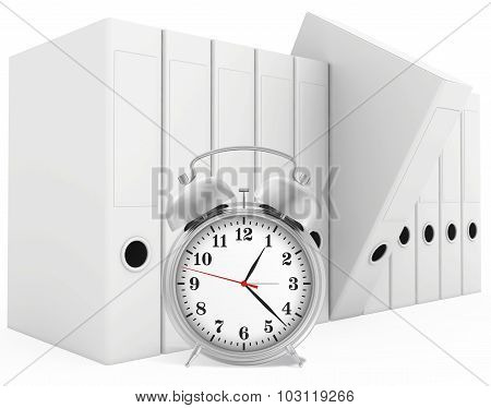 Office blank folder with alarm-clock in front. White background