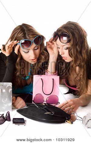 Two Pretty Girlfriends In Sunglasses