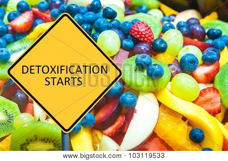 Yellow Roadsign With Message Detoxification Starts