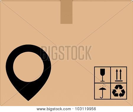 background cardboard box with location icon.