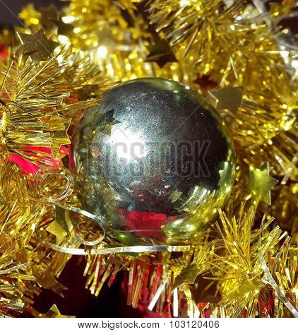 Christmas decoration silver ball with garland