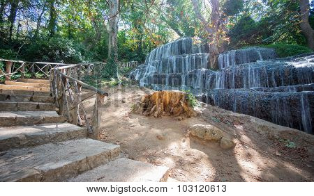 Long exposure of waterfall and track at Monasterio de Piedra