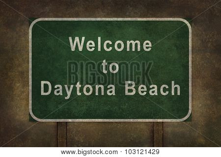 Welcome To Daytona Beach Roadside Sign Illustration