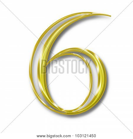Number Six Gold Color