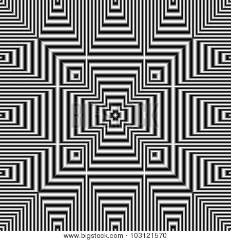 Geometric Optical Illusion Black And White Seamless Pattern