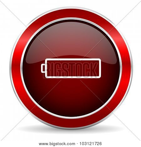 battery red circle glossy web icon, round button with metallic border