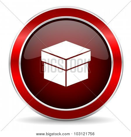 box red circle glossy web icon, round button with metallic border