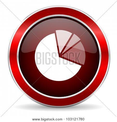 diagram red circle glossy web icon, round button with metallic border