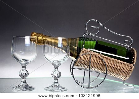 Sparkling White Wine Bottle With Two Glass