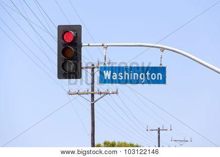 Washington Avenue Street Sign And Traffic Lights, California, Usa.