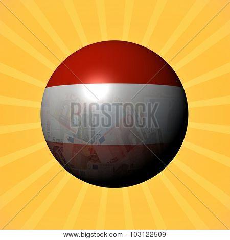 Austria flag euros sphere on sunburst illustration