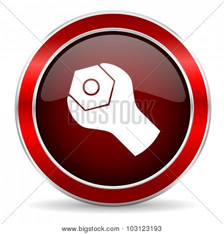tools red circle glossy web icon, round button with metallic border