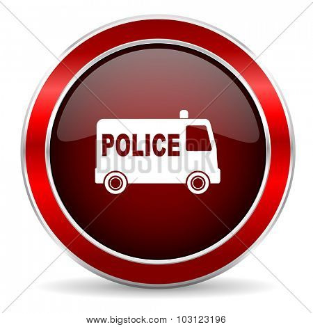 police red circle glossy web icon, round button with metallic border