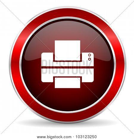 printer red circle glossy web icon, round button with metallic border
