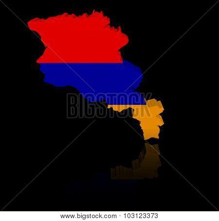 Armenia map flag with reflection illustration