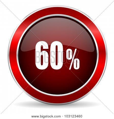 60 percent red circle glossy web icon, round button with metallic border