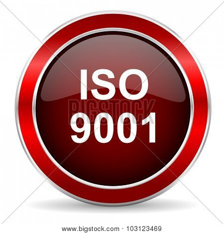 iso 9001 red circle glossy web icon, round button with metallic border