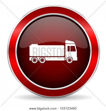 truck red circle glossy web icon, round button with metallic border